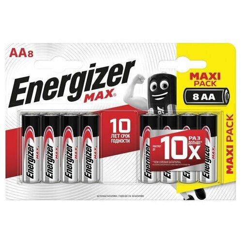 Фото - Батарейки комплект 8 шт., ENERGIZER Max, AA (LR06, 15А), алкалиновые, пальчиковые, блистер, E301531301, 1 шт. батарейки pkcell aa пальчиковые 12 шт уп
