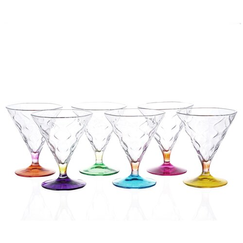 Набор для мартини RCR Riflessi Bicolour цветные 300мл (6 шт) набор стаканов для виски rcr riflessi bicolour цветные 300 мл 6 шт