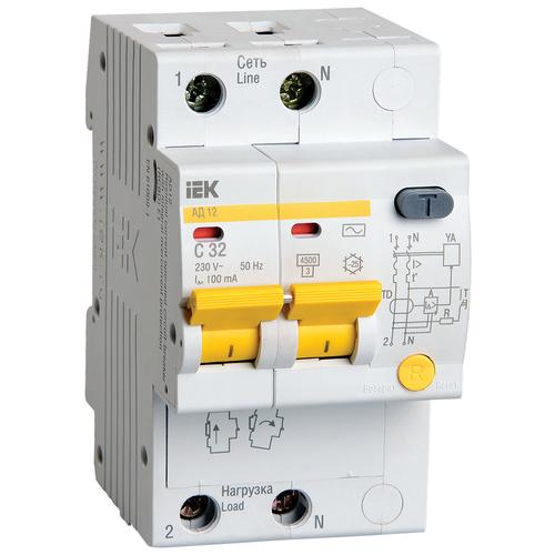 Дифференциальный автомат IEK АД 12 2П 100 мА C 4.5 кА AC 32 А дифференциальный автомат iek ад 12 2п 30 ма c 4 5 ка ac 25 а