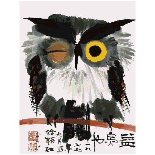 Купить Картина по номерам Китайская живопись - Сова, 80 х 90 см, Красиво Красим, Картины по номерам и контурам