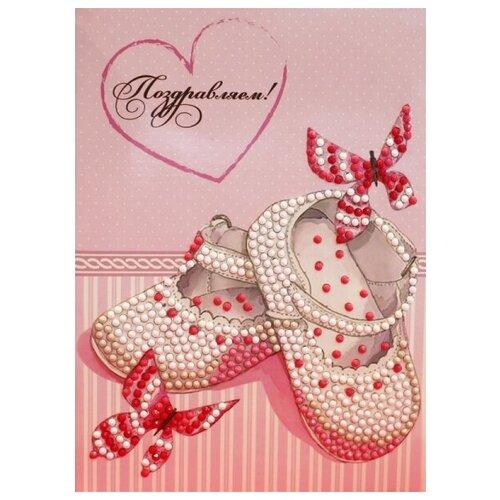 Купить Алмазная мозаика Поздравляем с дочкой! - Алмазная открытка, картина стразами Color KIT 13x18 см., Алмазная вышивка