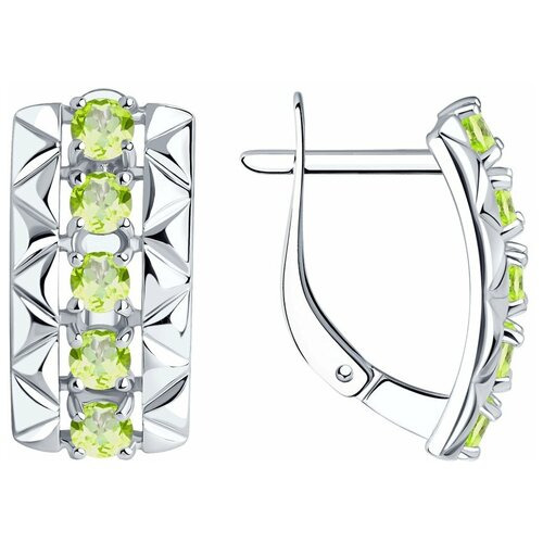 Diamant Серьги из серебра с хризолитами 94-320-00800-4