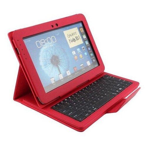Чехол-клавиатура MyPads для Samsung Galaxy Note 10.1 N8000/ N8010 съемная беспроводная Bluetooth в комплекте c кожаным чехлом и пластиковыми наклейками с русскими буквами