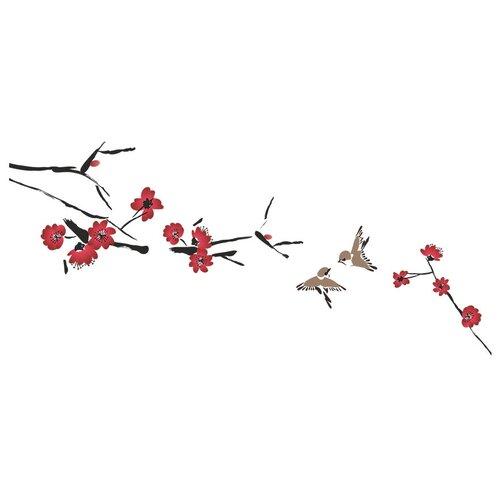 Наклейка Woozzee Птицы и ветка сакуры суми-э NDS-1115-0706