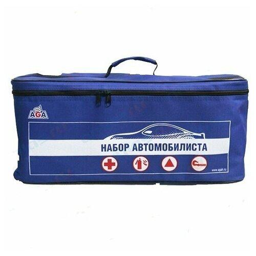 Набор автомобилиста AGA №3 (аптечка, огнетушитель, знак авар.ост, трос 3.5т 5м. 1 крюк, перчатки) тк