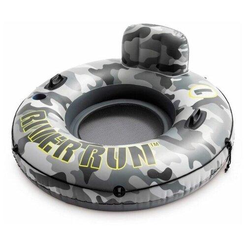 Фото - Надувной круг Intex River Run Камуфляж одноместный с сетчатым дном, диаметр 135 см надувной круг intex river rat 122см от 12лет 68209