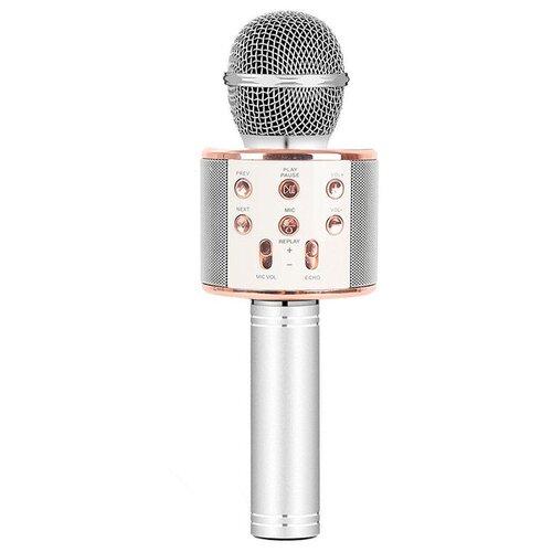 Беспроводной караоке-микрофон WS-858 (серебристый бриз)