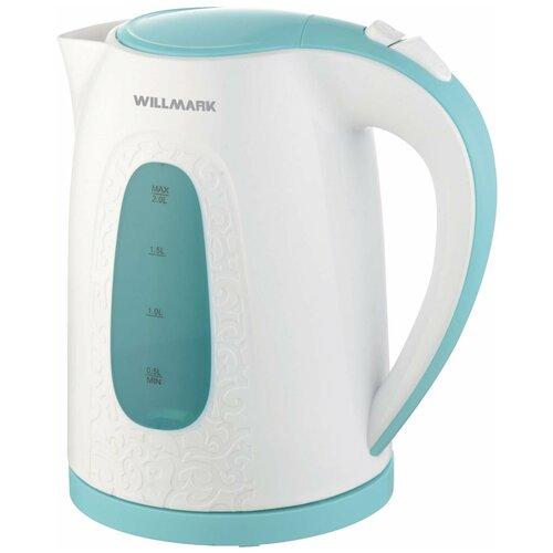 Чайник Willmark WEK-2009P, белый/голубой чайник willmark wek 2009p белый фиолетовый