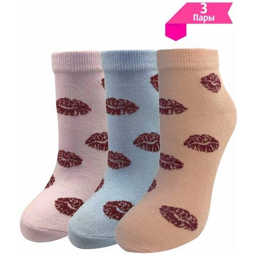 Носки женские МЛ-10, яркие / поцелуи, 14 февраля, набор (комплект) - 3 пары, средние, хлопок р. 23