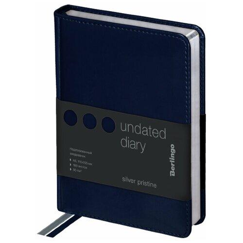 Ежедневник Berlingo Silver Pristine недатированный, искусственная кожа, А6, 160 листов, синий, цвет бумаги тонированный