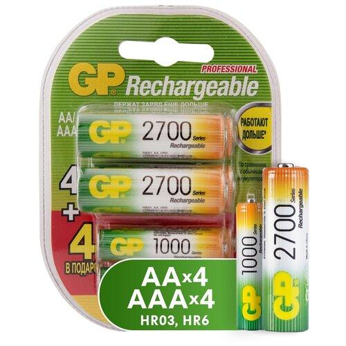Фото - Аккумулятор Ni-Mh GP Rechargeable 2700 Series AA + Rechargeable 1000 Series AAA, 8 шт. gillette series sensitive set