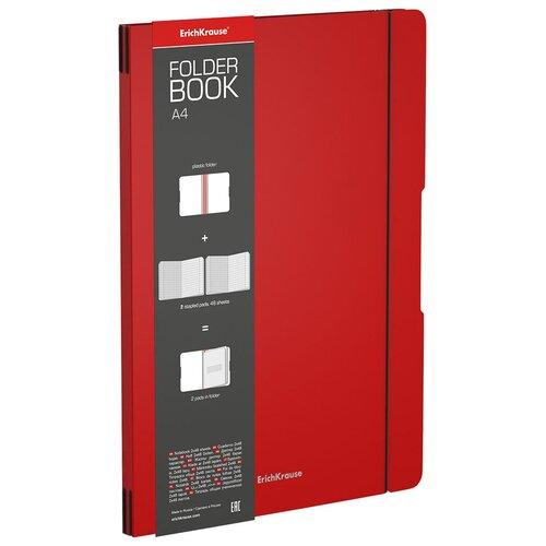 ErichKrause Упаковка тетрадей FolderBook Classic 48232 в съемной пластиковой обложке, 2 сменных блока, 2 шт., клетка, 96 л., красный тетрадь общая ученическая в съемной пластиковой обложке erichkrause folderbook accent красный а5 48 листов клетка