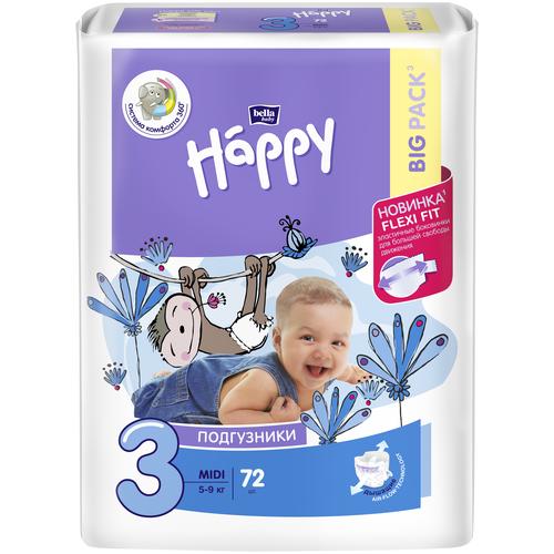 Bella Baby happy подгузники midi 3 (5-9 кг), 72 шт.