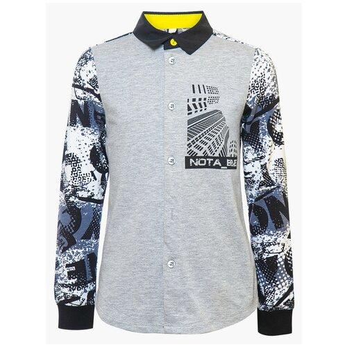 Рубашка Nota Bene размер 128, серый/черный