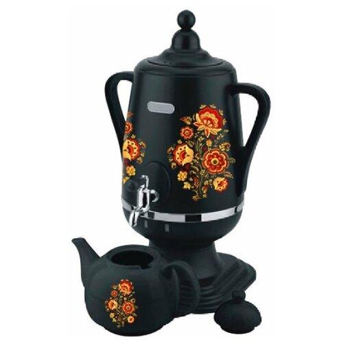 Добрыня DO-431 петриковская роспись, Самовар электрический 4,0 л + керамический заварочный чайник 1,0 л )цвет: чёрный)