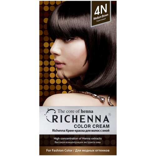 Купить Richenna Крем-краска для волос с хной, 4N brown