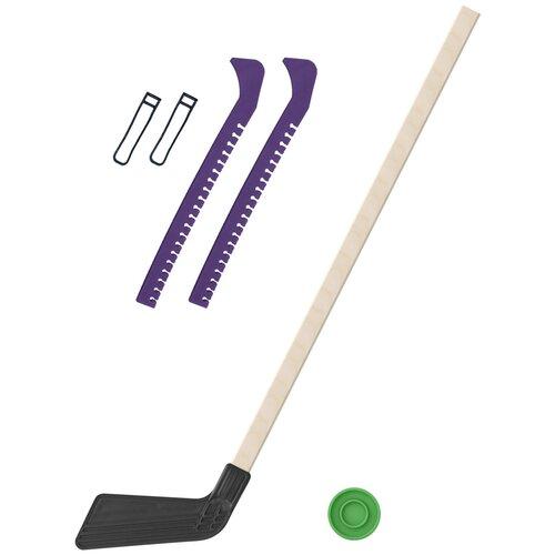 Набор зимний: Клюшка хоккейная чёрная 80 см.+шайба + Чехлы для коньков фиолетовые, Задира-плюс