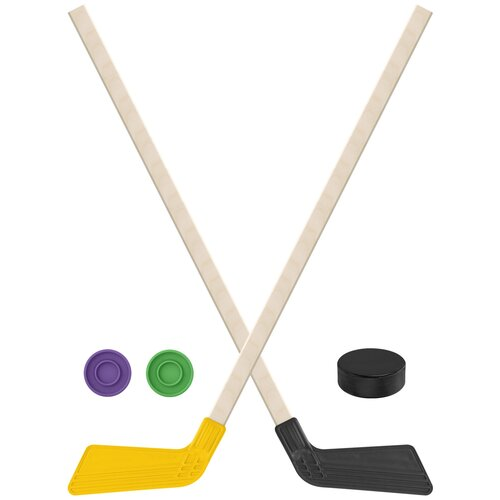 Набор зимний: 2 Клюшки хоккейных жёлтая и чёрная 80 см.+2 шайбы + Шайба хоккейная 75 мм., Задира-плюс