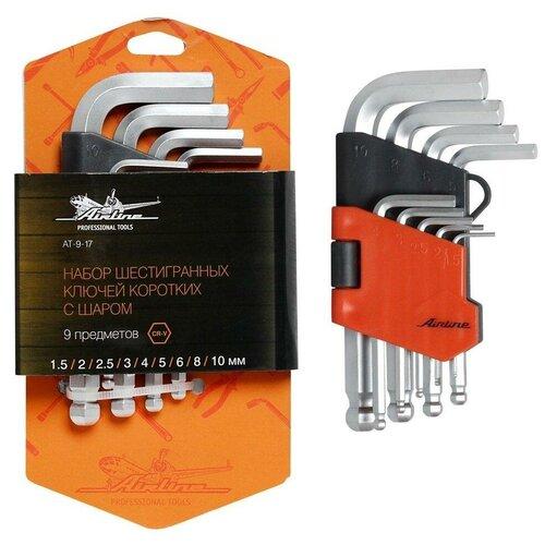 Набор шестигранных ключей коротких инбус с шаром 9 предметов (1.5,2,2.5,3,4,5,6,8,10мм) пласт.подвес AT-9-17