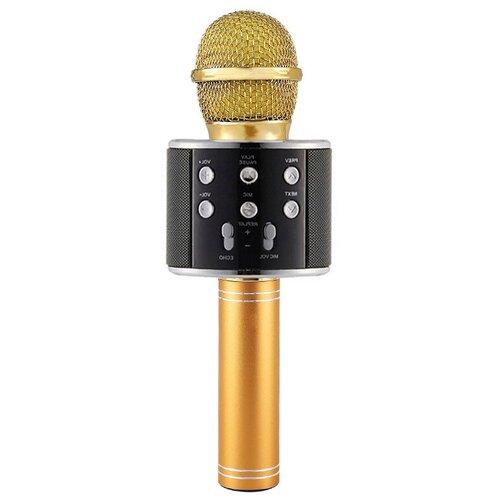 Беспроводной караоке-микрофон WS-858 (черное золото)