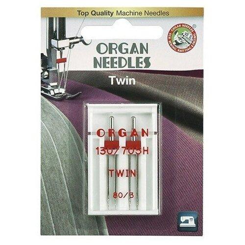 Игла/иглы Organ Twin 80/3 серебристый