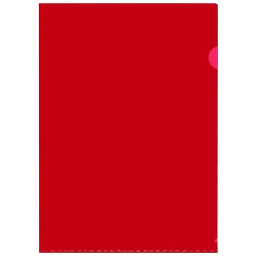 Папка уголок E-310 180мкр жесткий пластик А4 красная прозрачная Россия 10шт/уп, 2 уп