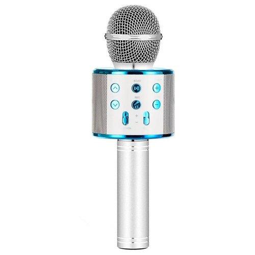 Беспроводной караоке-микрофон WS-858 (голубое серебро)