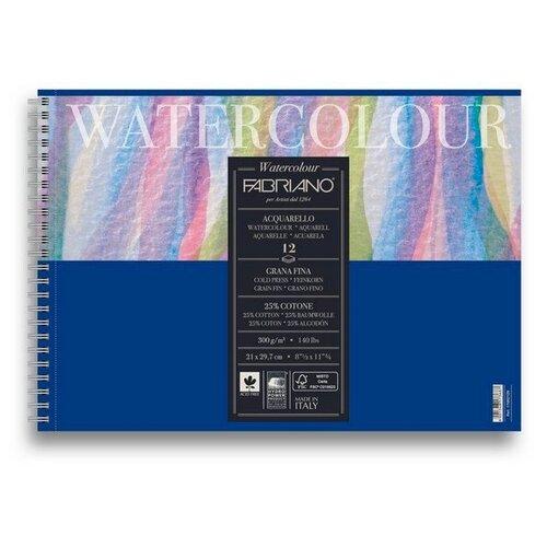 Фото - Альбом для акварели на спирали Fabriano Watercolour 21x29,7 см 12л 300г/м.кв 17662129 альбом для акварели fabriano watercolour 300 г м2 а6 10 5 х 14 8 см склейка с одной стороны 20 л