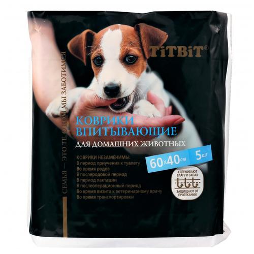 Коврики впитывающие для ухода за домашними животными 60х40 см (5 шт. - 1 упаковка)