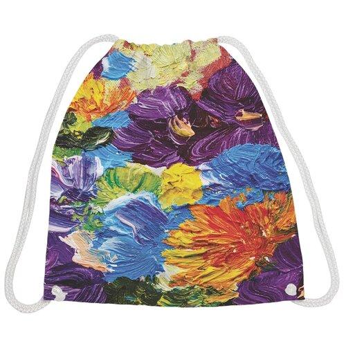 JoyArty Рюкзак-мешок Акриловые цветы bpa_4872, синий/фиолетовый/оранжевый