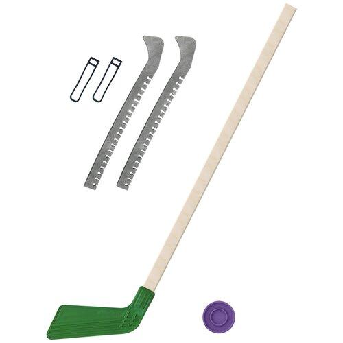 Набор зимний: Клюшка хоккейная зелёная 80 см.+шайба + Чехлы для коньков серые, Задира-плюс