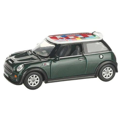 Купить Легковой автомобиль Serinity Toys Mini Cooper S с флагом (5059DFKT) 1:28, 12.5 см, зеленый, Машинки и техника