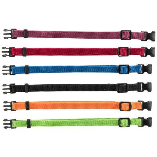 Ошейники для щенков, набор из 6 шт., M-L: 22-35 см/10 мм, красн., зел., желтый, диаметриол., синий, черн.