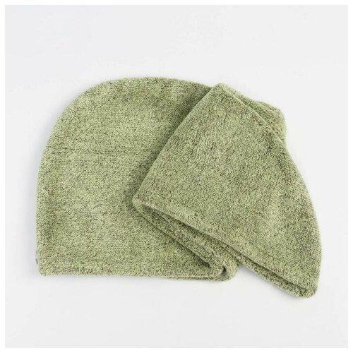 Купить Чалма для сушки волос Этель Меланж цв.зеленый, 65*25 см, 100% п/э 6897210