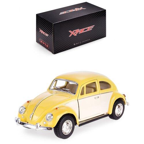 Купить Детская инерционная металлическая машинка Serinity Toys с открывающимися дверями, модель 1967 Volkswagen Classical Beetle с бежевыми дверьми, желтый, Машинки и техника