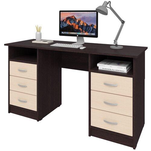 Фото - Письменный стол СитиМебель Хит-12, ШхГ: 140х50 см, цвет: венге цаво/дуб молочный письменный стол ситимебель компактный шхг 140х50 см цвет венге цаво