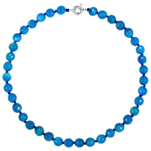 Aleska Бусы с голубым агатом 48см