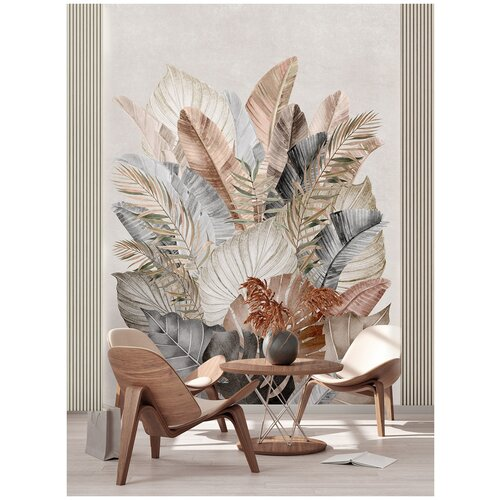 Фотообои Большие тропические листья в серо-коричневых тонах/ Красивые уютные обои на стену в интерьер комнаты/ 3Д расширяющие пространство/ На кухню в спальню детскую зал гостиную прихожую/ размер 200х270см/ Флизелиновые