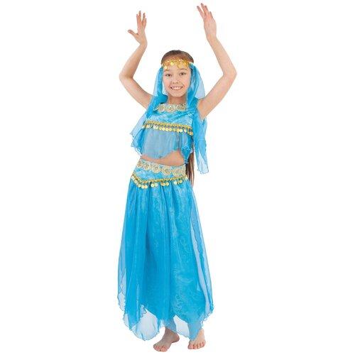 Купить Костюм пуговка Восточная красавица (2057 к-19), голубой/золотистый, размер 122, Карнавальные костюмы