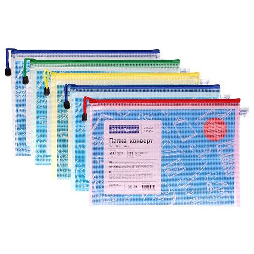 Купить Папка-конверт на молнии OfficeSpace, А4, 250мкм, сетка, прозрачная, ассорти, упаковка 12 шт., Файлы и папки