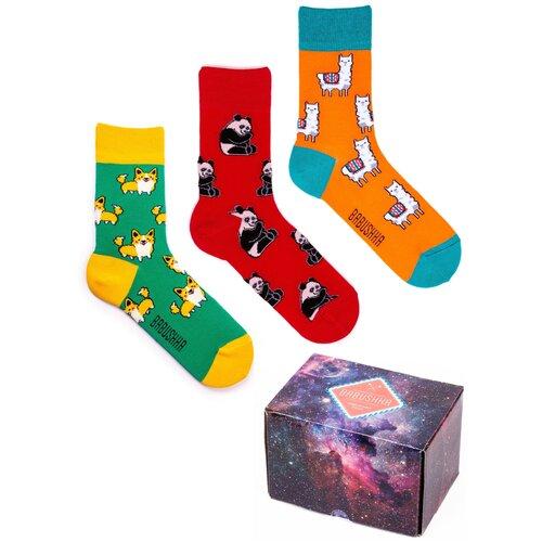 Цветные носки Babushka, набор носков с принтом, 3 пары в коробке, размер 36-39, CGB-1