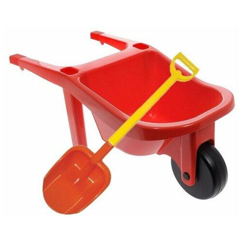 Купить Игровой набор: тачка большая (15-10278) + лопата двухцветная 66 см. (16-10292), ZEBRATOYS, Наборы в песочницу