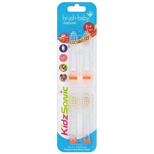 Насадки Brush-Baby KidzSonic от 6 лет brush baby kidzsonic звуковая зубная щетка ракета от 3 лет