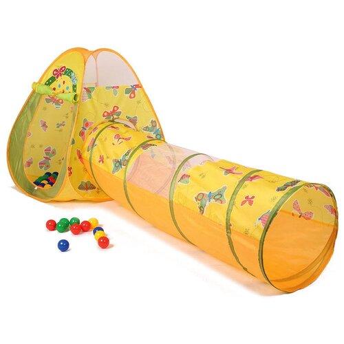 палатки домики babyone ching ching игровая палатка машина 100 шаров Палатка CHING-CHING Бабочки треугольник + туннель + 100 шаров СВН-22, желтый/зеленый