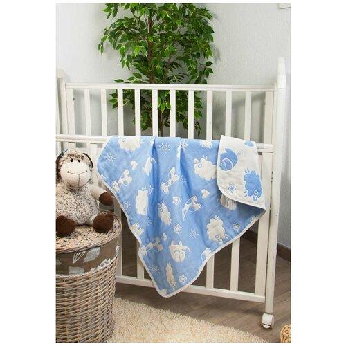 Купить Плед Зверята , цвет: голубой, 79х98 см, Сонный Гномик, Покрывала, подушки, одеяла