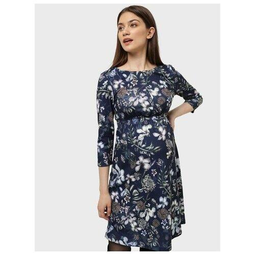 Платье I love mum Алиша синий/цветы для беременных и кормящих (46)