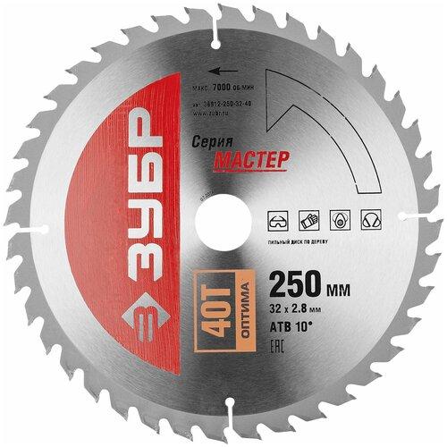 Фото - Пильный диск ЗУБР Мастер 36912-250-32-40 250х32 мм пильный диск зубр эксперт 36901 250 32 24 250х32 мм