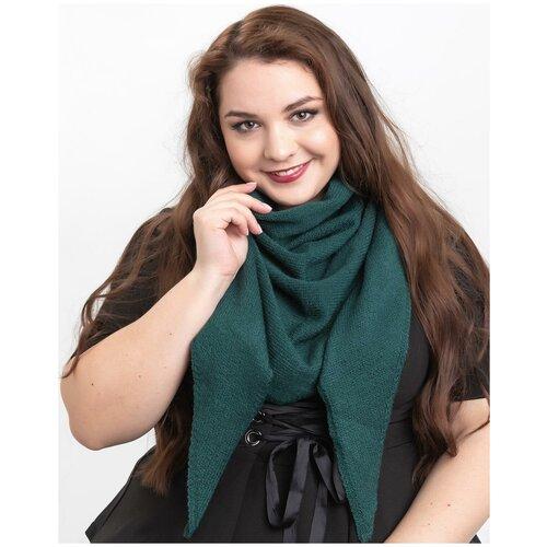 Женский теплый шарф-платок из шерсти, ТМ Reflexmaniya, RN168-Темно-зеленый.