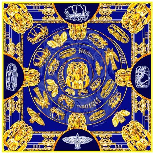 Платок Русские в моде by Nina Ruchkina Пермский звериный стиль синий/желтый