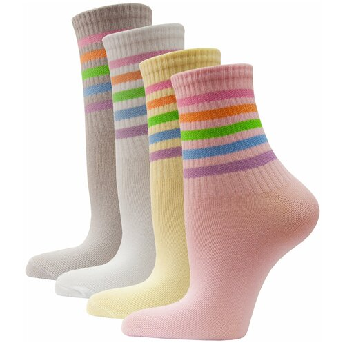 Носки женские яркие с полоской HOSIERY 71400 р 23-25 (36-39 размер обуви) микс 2 4 пары